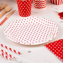 Carnival Red Paper Plates - Dots (8)
